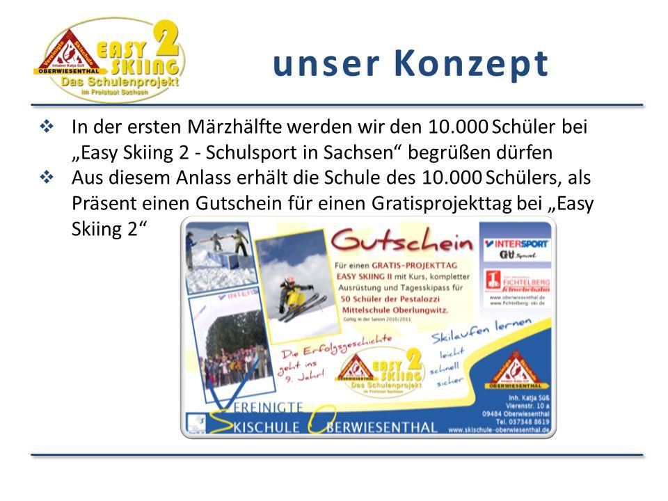 """unser Konzept In der ersten Märzhälfte werden wir den 10.000 Schüler bei """"Easy Skiing 2 - Schulsport in Sachsen begrüßen dürfen."""