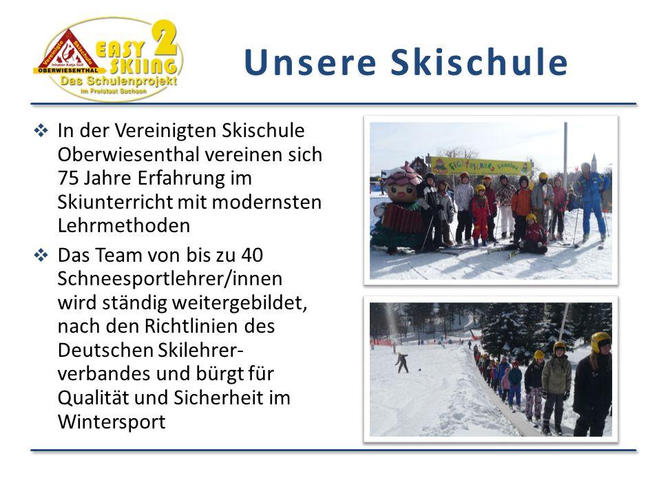 Unsere Skischule In der Vereinigten Skischule Oberwiesenthal vereinen sich 75 Jahre Erfahrung im Skiunterricht mit modernsten Lehrmethoden.