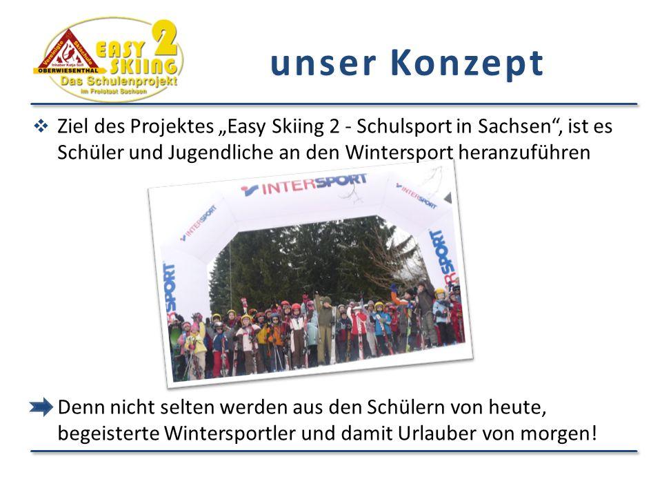"""unser Konzept Ziel des Projektes """"Easy Skiing 2 - Schulsport in Sachsen , ist es Schüler und Jugendliche an den Wintersport heranzuführen."""