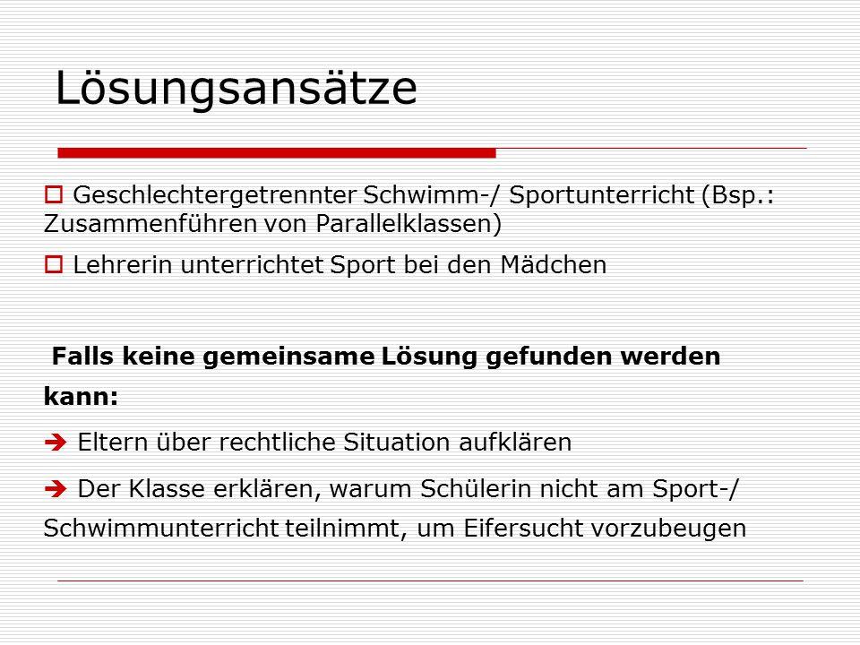 Lösungsansätze Geschlechtergetrennter Schwimm-/ Sportunterricht (Bsp.: Zusammenführen von Parallelklassen)