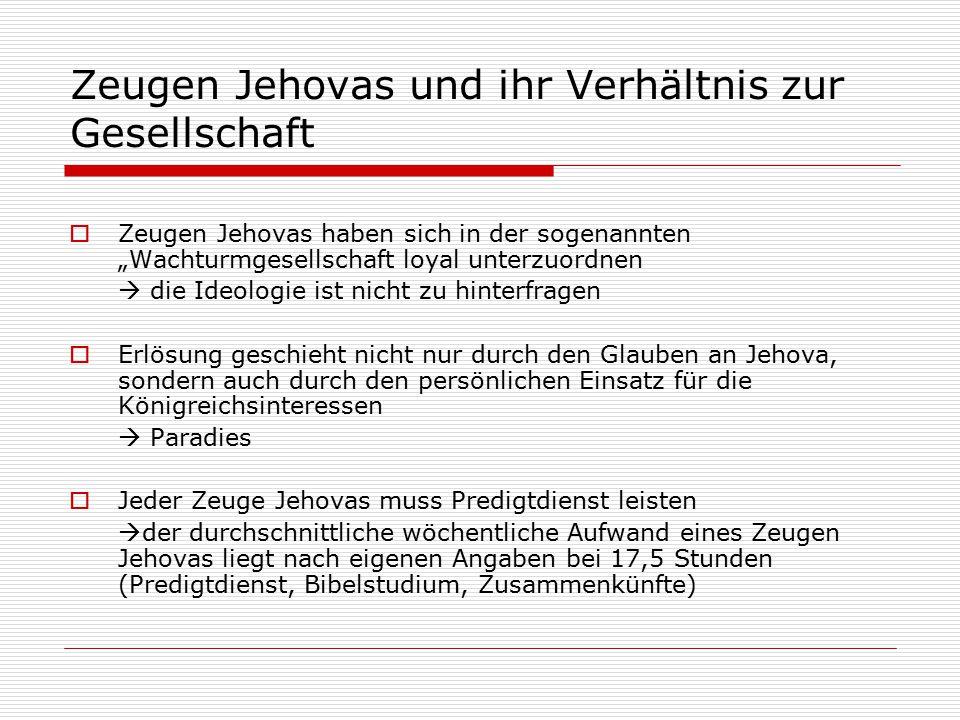 Zeugen Jehovas und ihr Verhältnis zur Gesellschaft