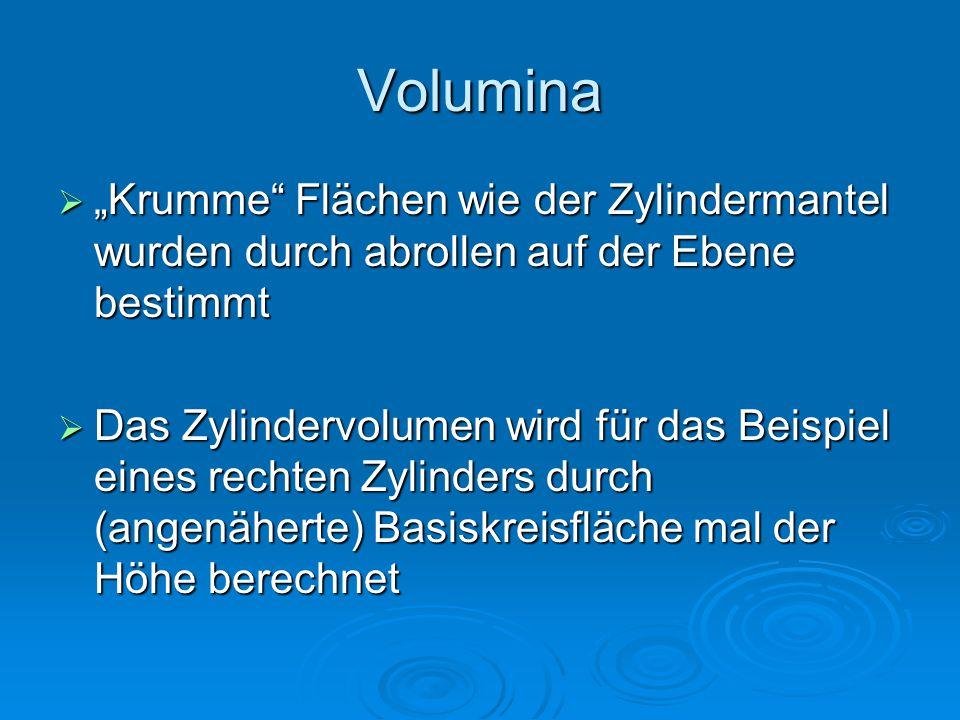 """Volumina """"Krumme Flächen wie der Zylindermantel wurden durch abrollen auf der Ebene bestimmt."""