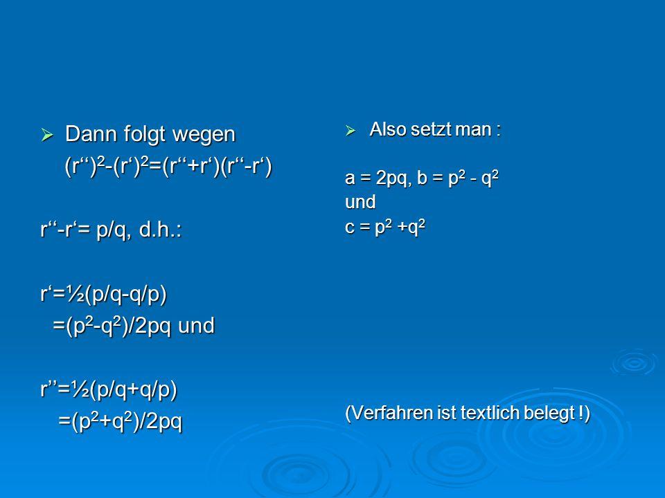 (r'')2-(r')2=(r''+r')(r''-r') r''-r'= p/q, d.h.: r'=½(p/q-q/p)