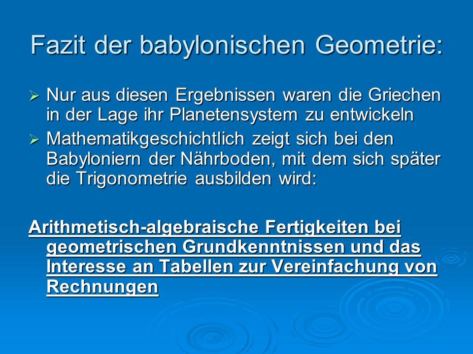 Fazit der babylonischen Geometrie: