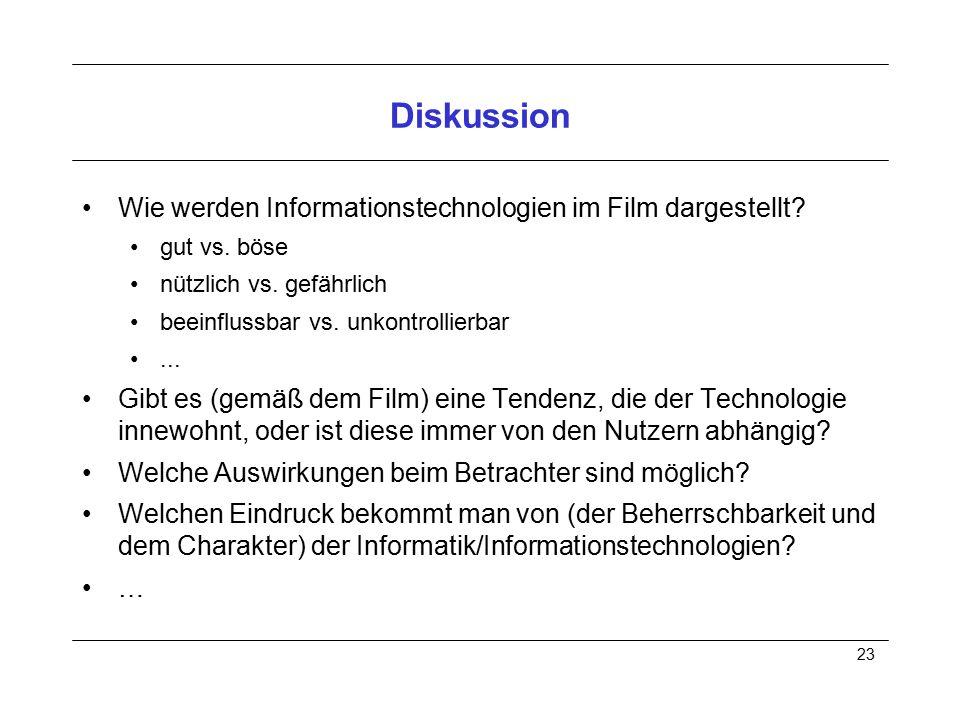 Diskussion Wie werden Informationstechnologien im Film dargestellt