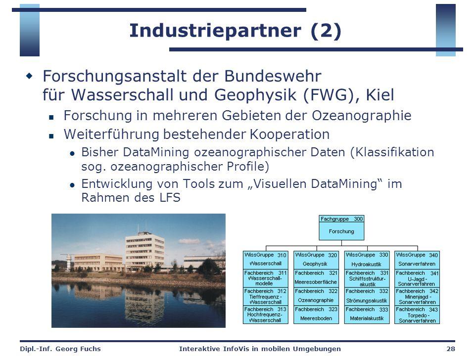 Industriepartner (2) Forschungsanstalt der Bundeswehr für Wasserschall und Geophysik (FWG), Kiel. Forschung in mehreren Gebieten der Ozeanographie.