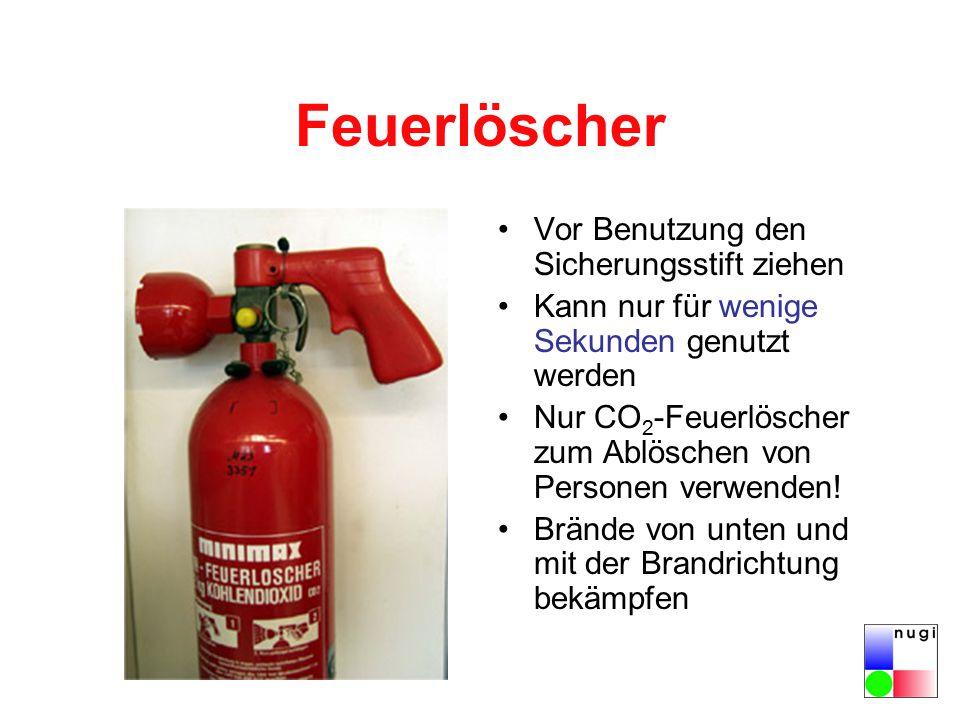 Feuerlöscher Vor Benutzung den Sicherungsstift ziehen