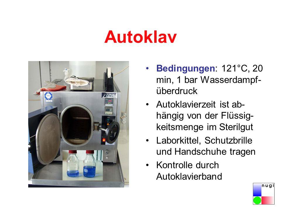 Autoklav Bedingungen: 121°C, 20 min, 1 bar Wasserdampf-überdruck