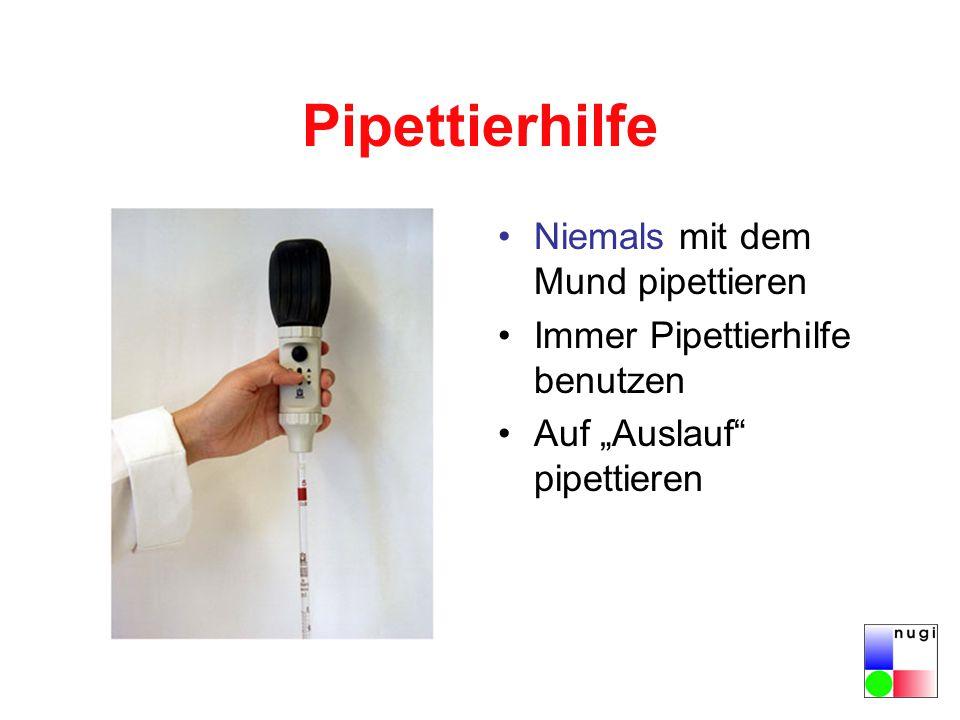 Pipettierhilfe Niemals mit dem Mund pipettieren