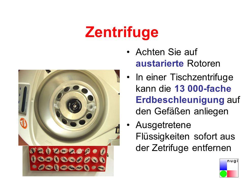 Zentrifuge Achten Sie auf austarierte Rotoren