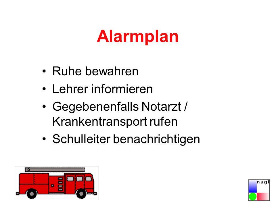Alarmplan Ruhe bewahren Lehrer informieren
