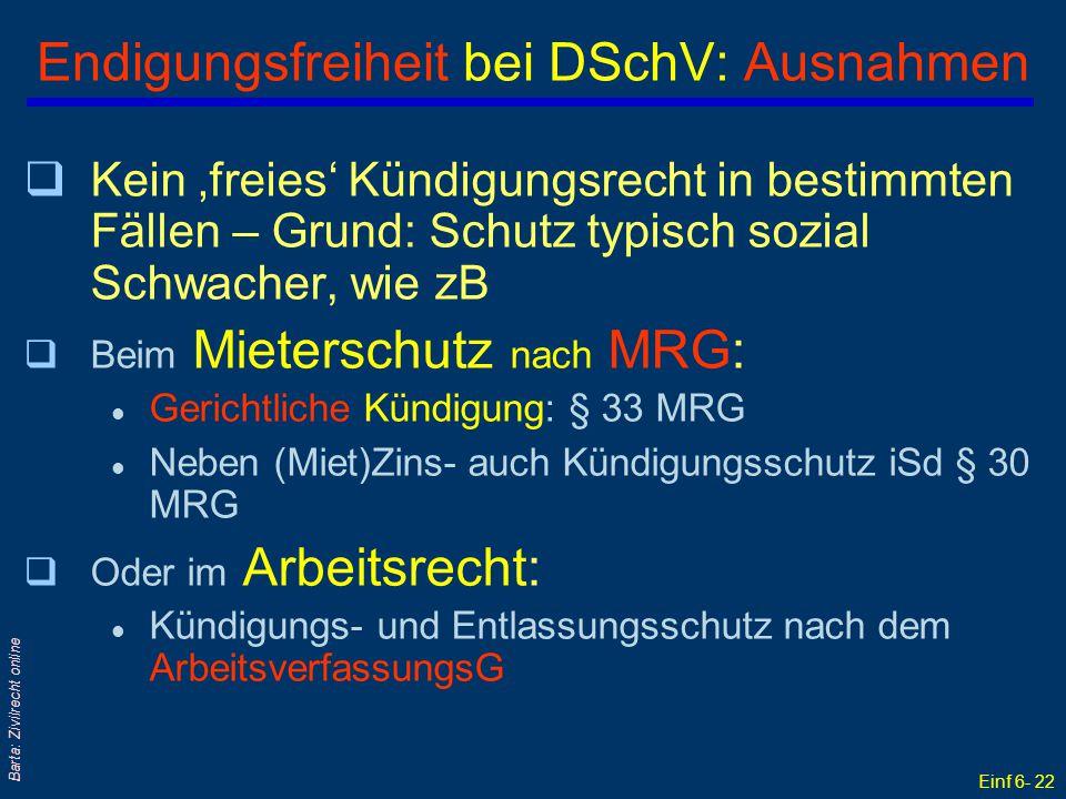 Endigungsfreiheit bei DSchV: Ausnahmen