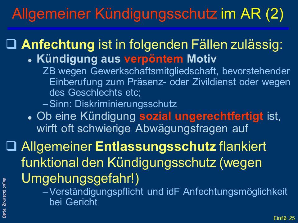 Allgemeiner Kündigungsschutz im AR (2)