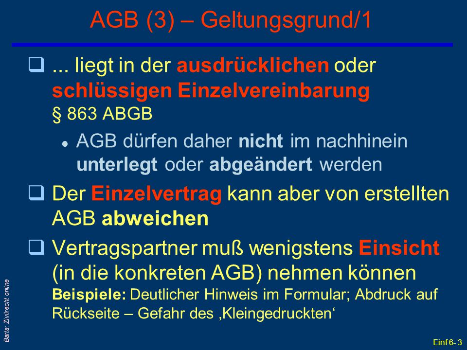 AGB (3) – Geltungsgrund/1