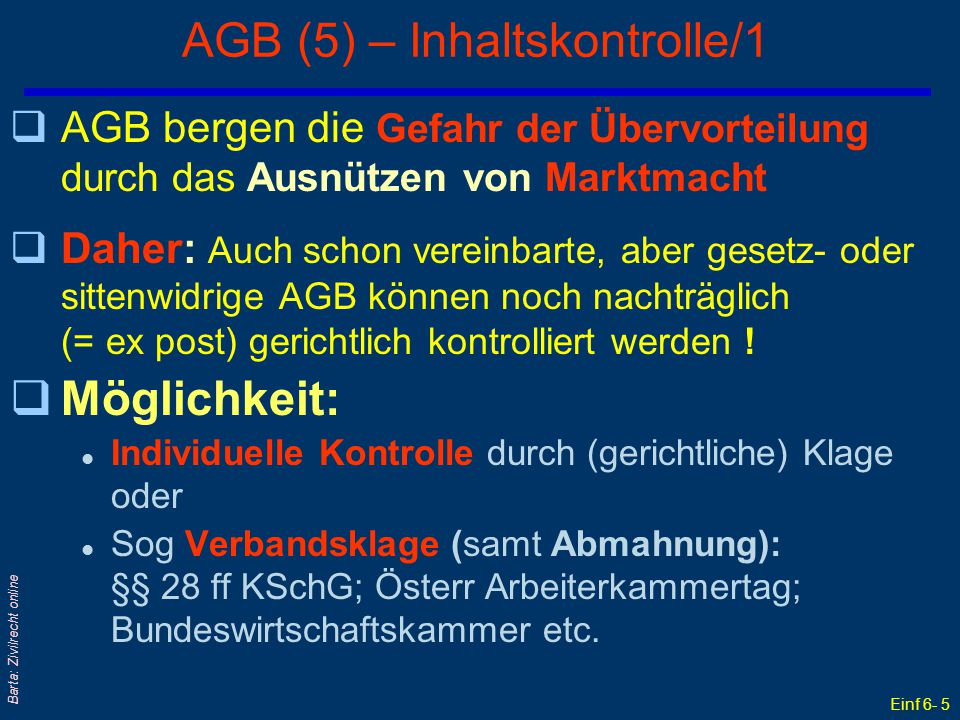 AGB (5) – Inhaltskontrolle/1