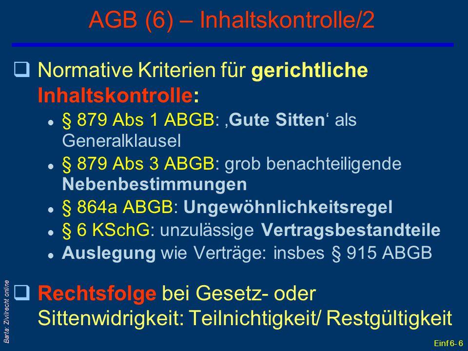 AGB (6) – Inhaltskontrolle/2