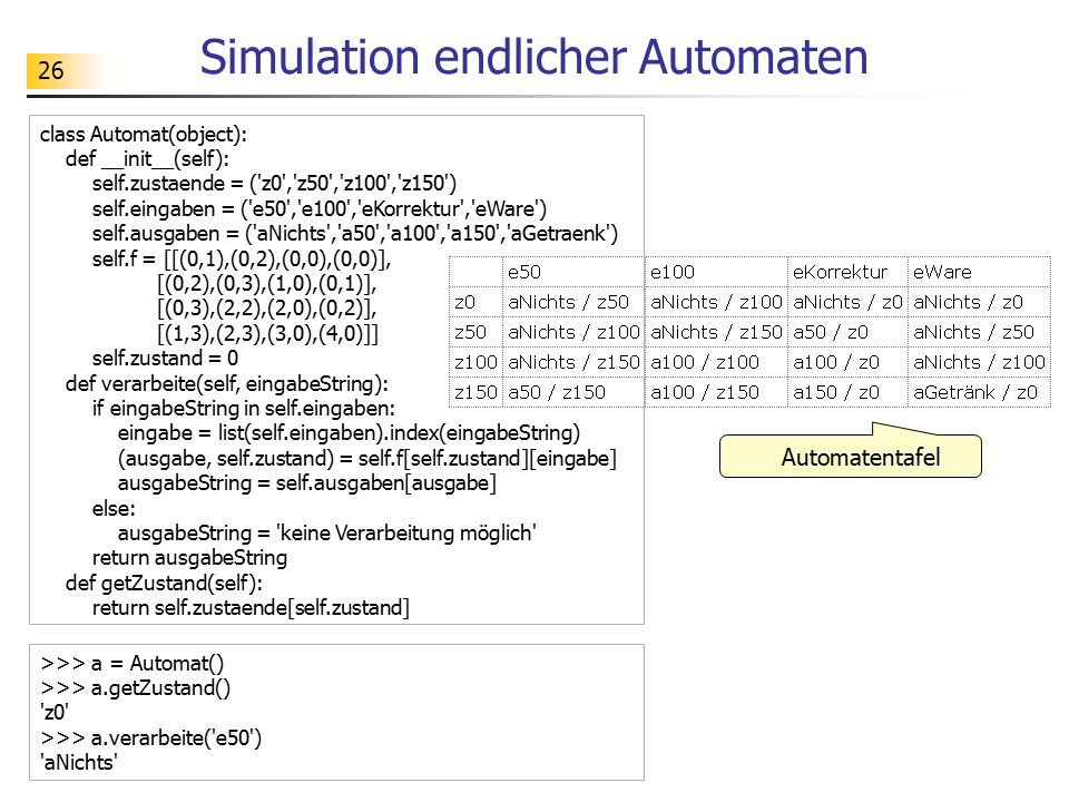 Simulation endlicher Automaten
