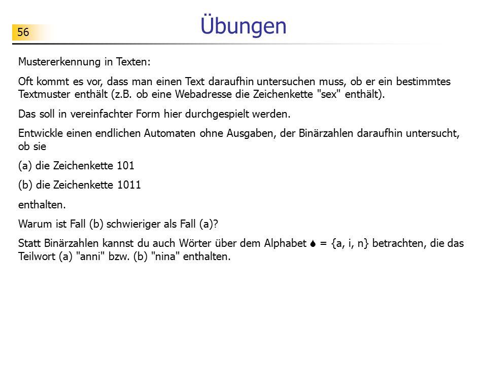 Übungen Mustererkennung in Texten: