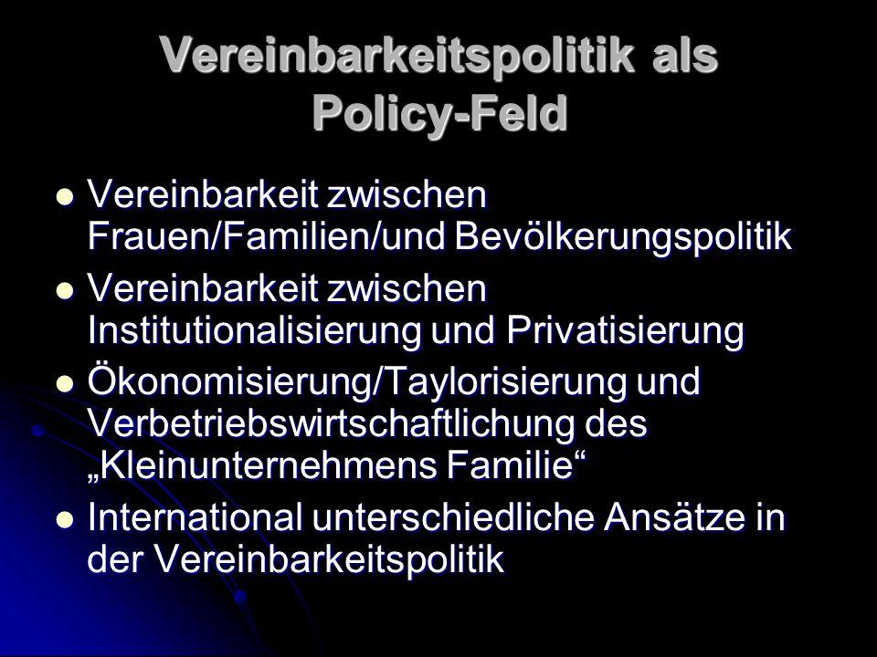 Vereinbarkeitspolitik als Policy-Feld