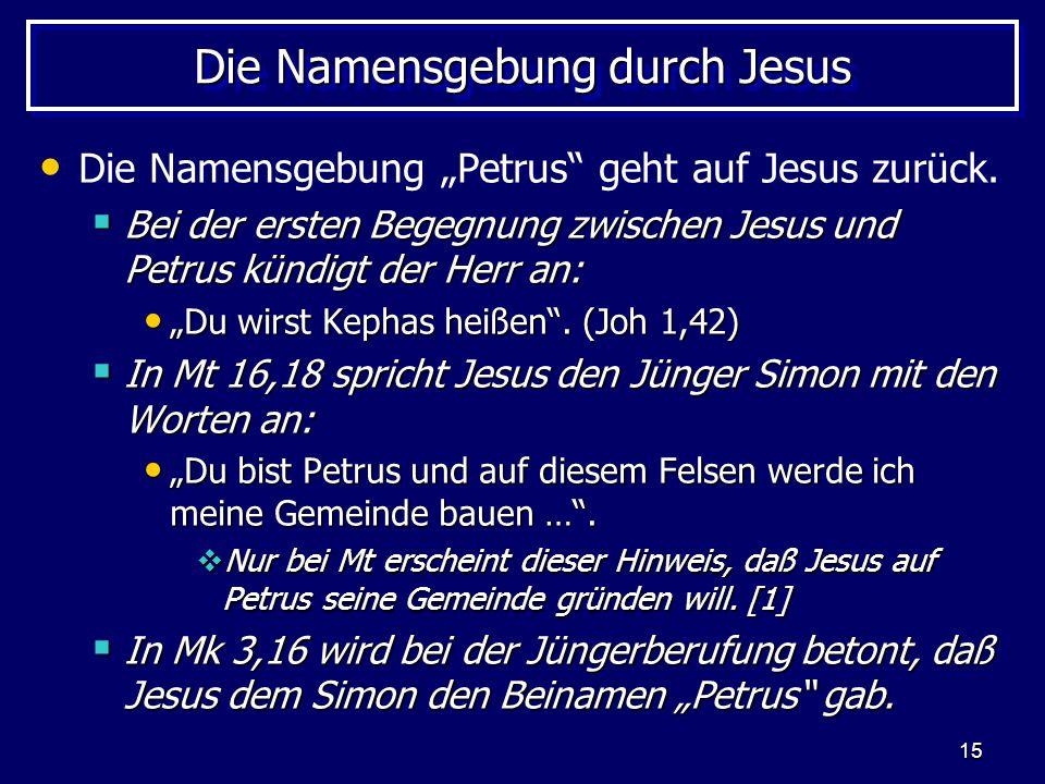 Die Namensgebung durch Jesus