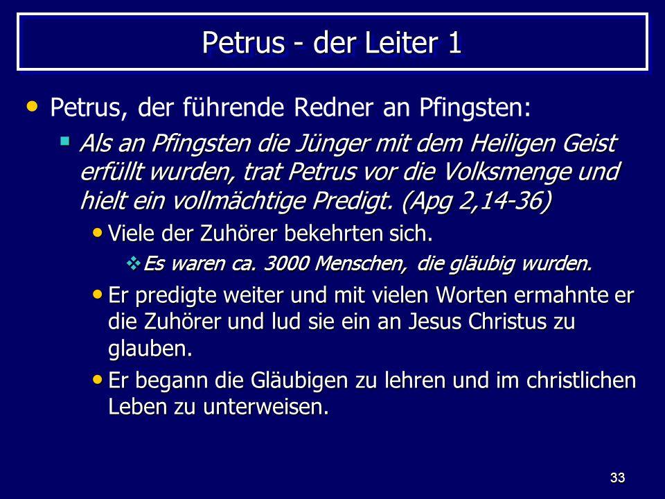 Petrus - der Leiter 1 Petrus, der führende Redner an Pfingsten: