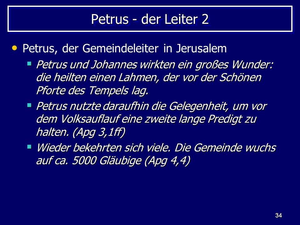 Petrus - der Leiter 2 Petrus, der Gemeindeleiter in Jerusalem