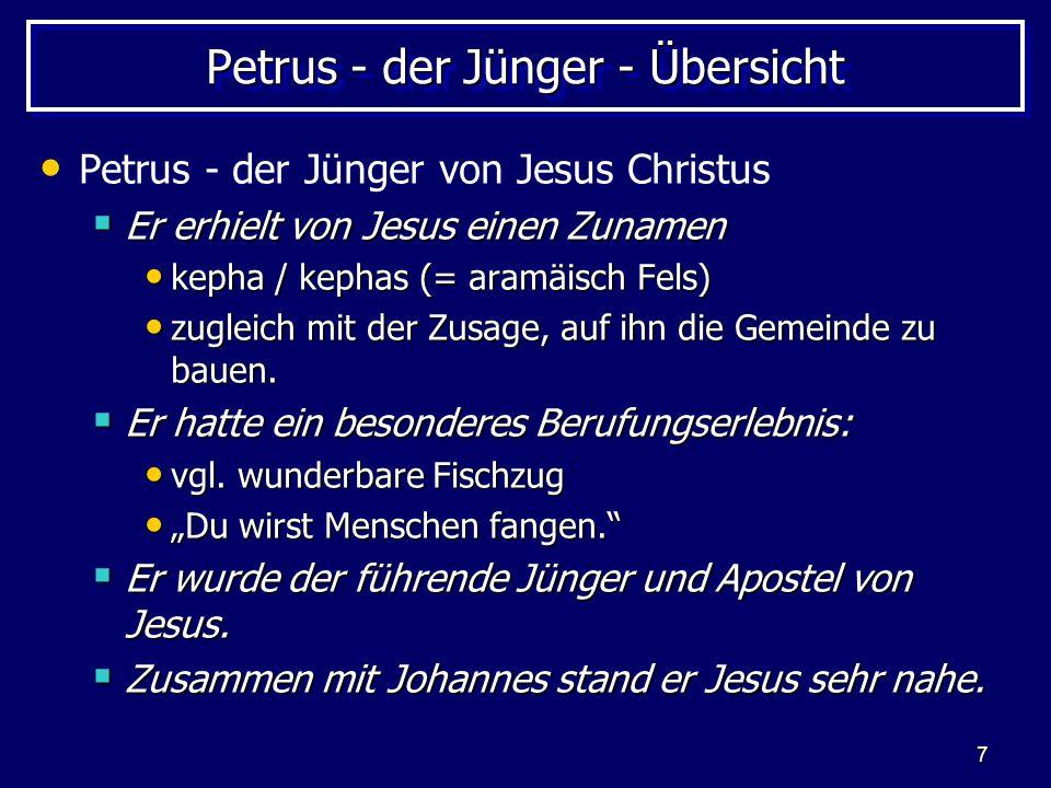 Petrus - der Jünger - Übersicht