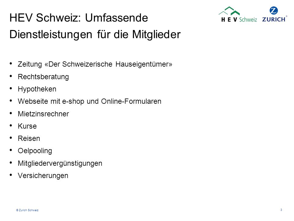 HEV Schweiz: Umfassende Dienstleistungen für die Mitglieder
