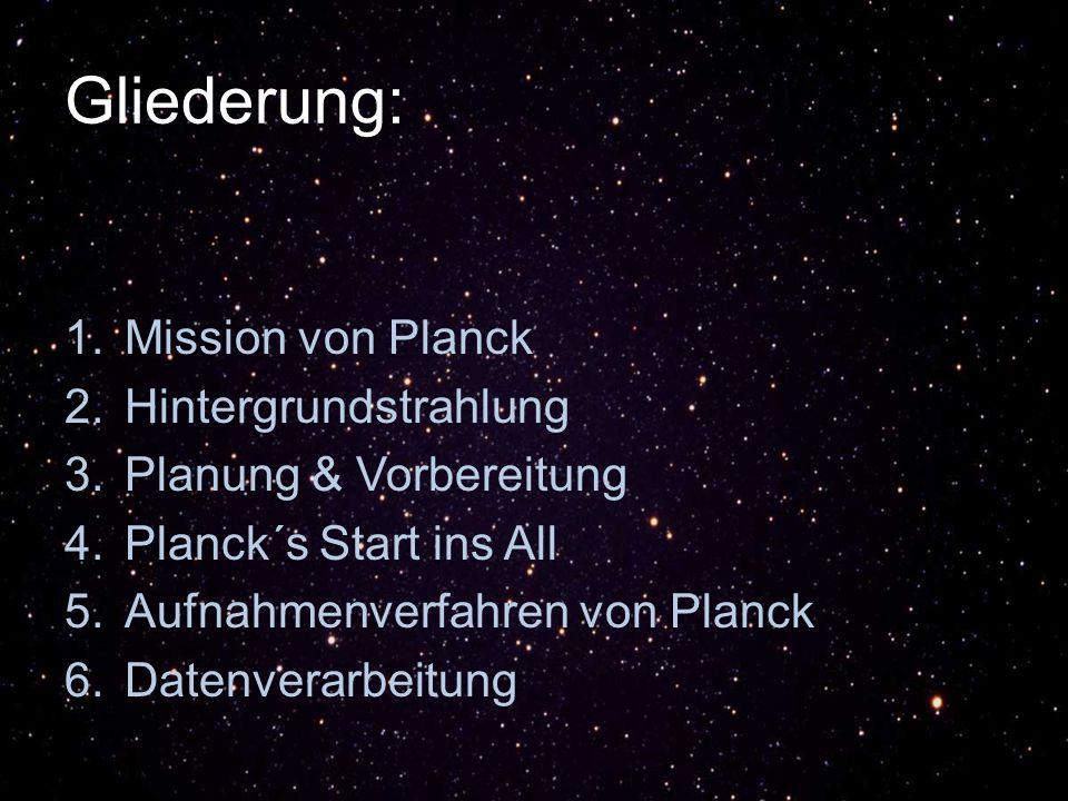 Gliederung: Mission von Planck Hintergrundstrahlung