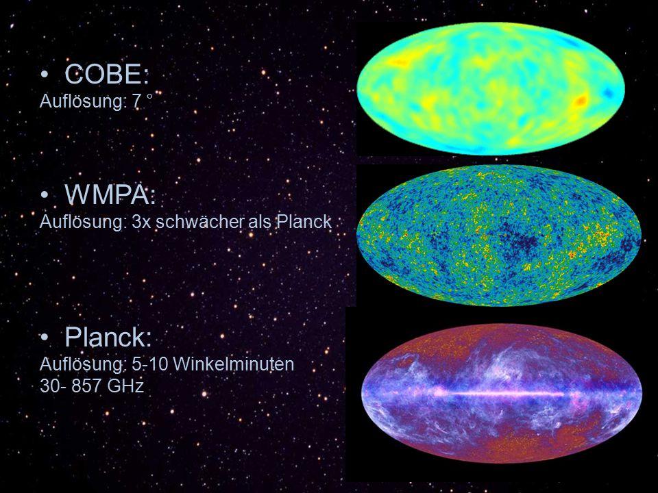 COBE: WMPA: Planck: Auflösung: 7 ° Auflösung: 3x schwächer als Planck