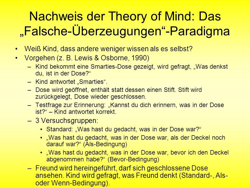 """Nachweis der Theory of Mind: Das """"Falsche-Überzeugungen -Paradigma"""