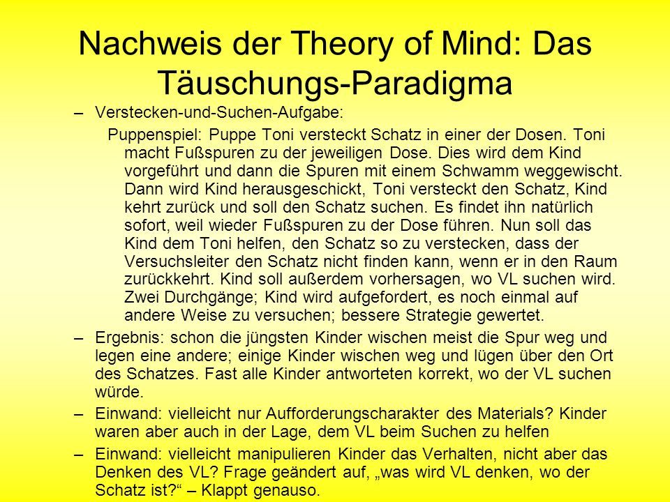 Nachweis der Theory of Mind: Das Täuschungs-Paradigma