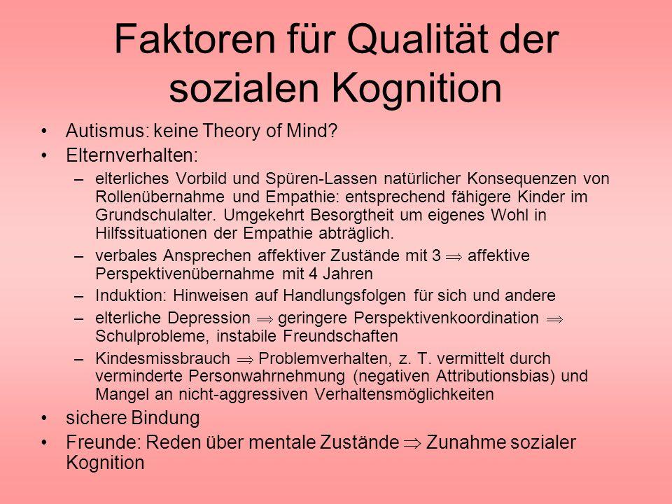 Faktoren für Qualität der sozialen Kognition
