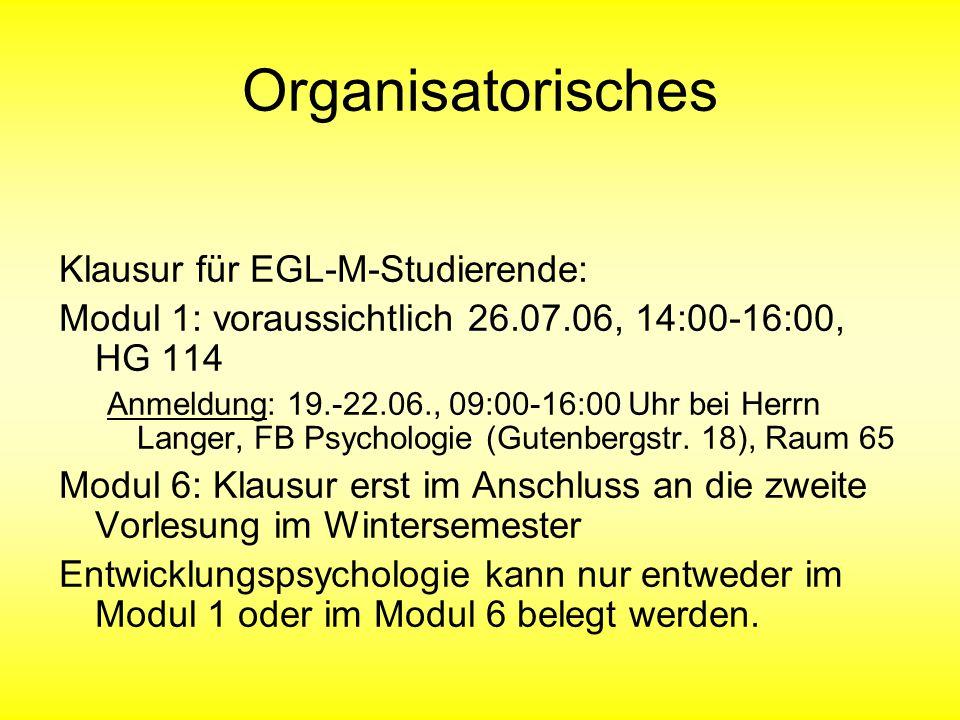 Organisatorisches Klausur für EGL-M-Studierende: