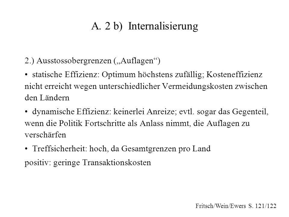 """A. 2 b) Internalisierung 2.) Ausstossobergrenzen (""""Auflagen )"""