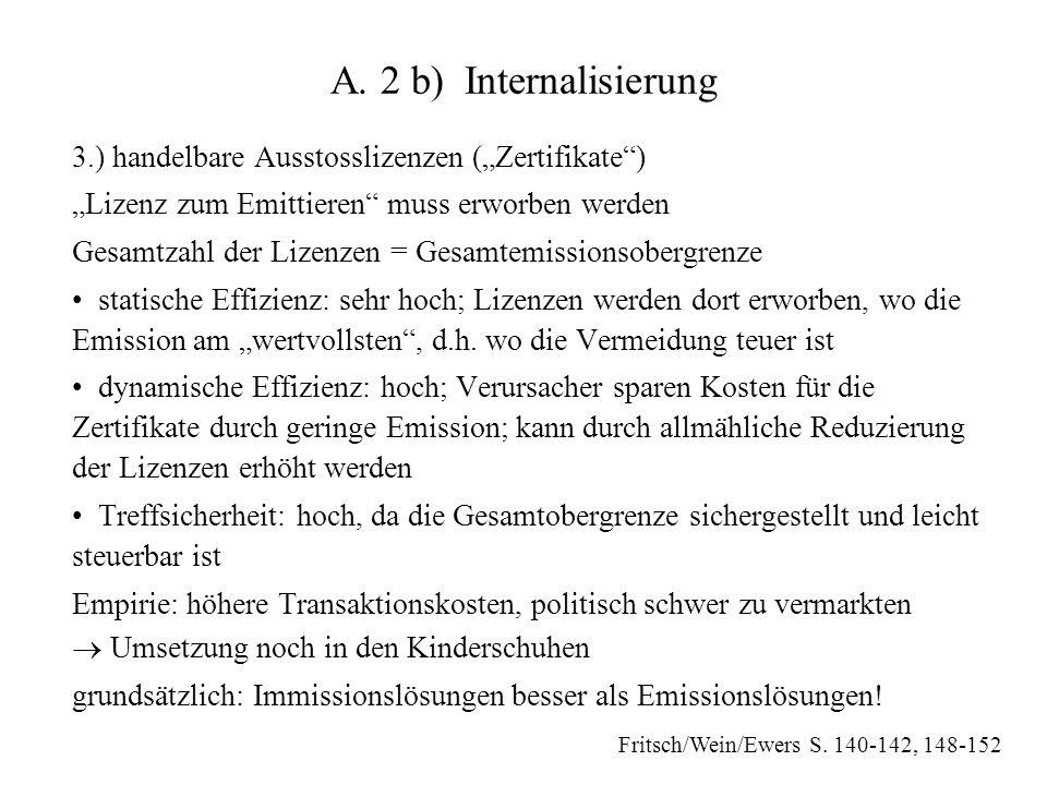 """A. 2 b) Internalisierung 3.) handelbare Ausstosslizenzen (""""Zertifikate ) """"Lizenz zum Emittieren muss erworben werden."""
