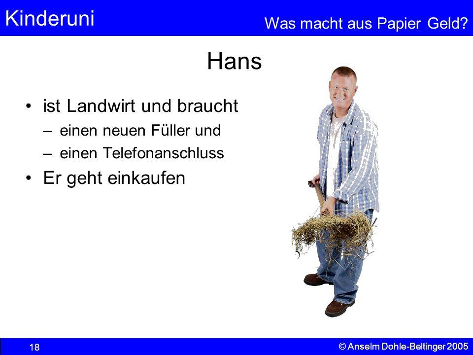 Hans ist Landwirt und braucht Er geht einkaufen einen neuen Füller und