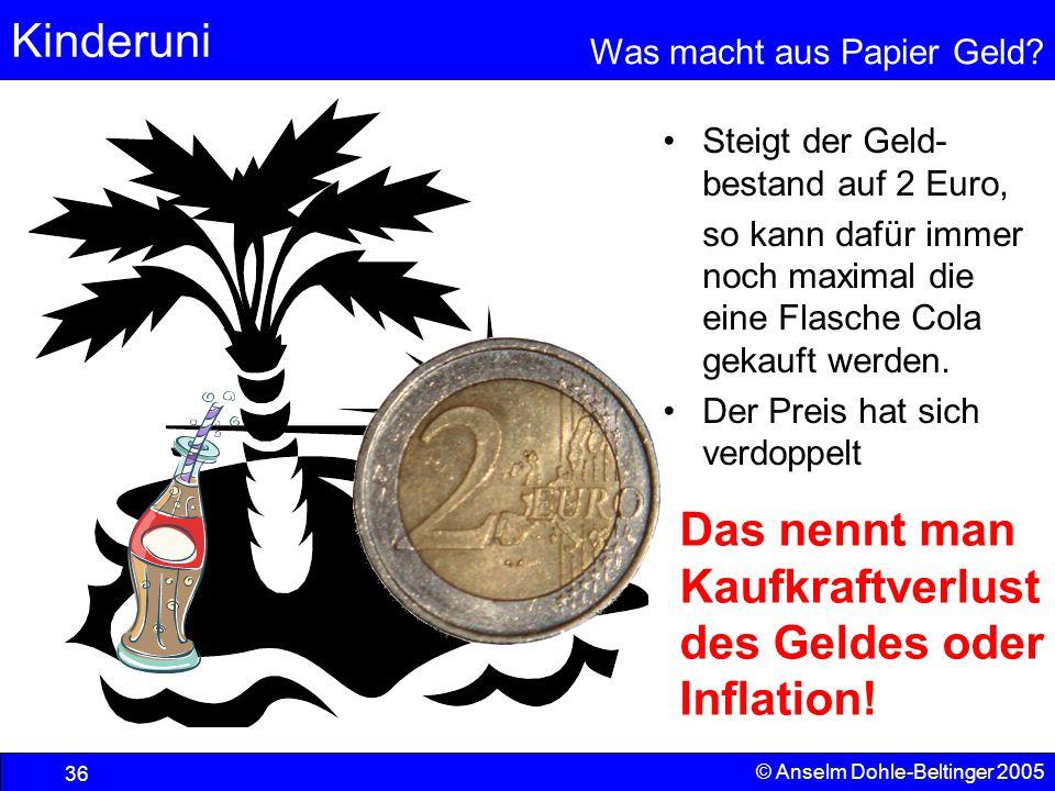 Das nennt man Kaufkraftverlust des Geldes oder Inflation!