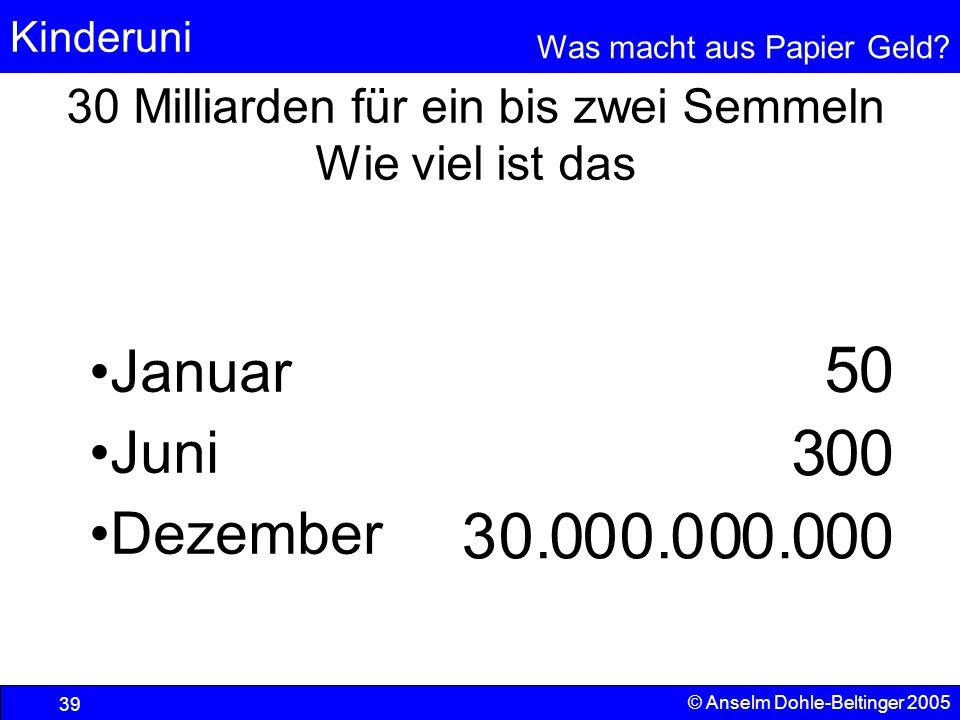 30 Milliarden für ein bis zwei Semmeln Wie viel ist das