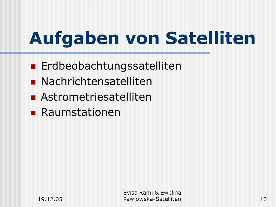 Aufgaben von Satelliten