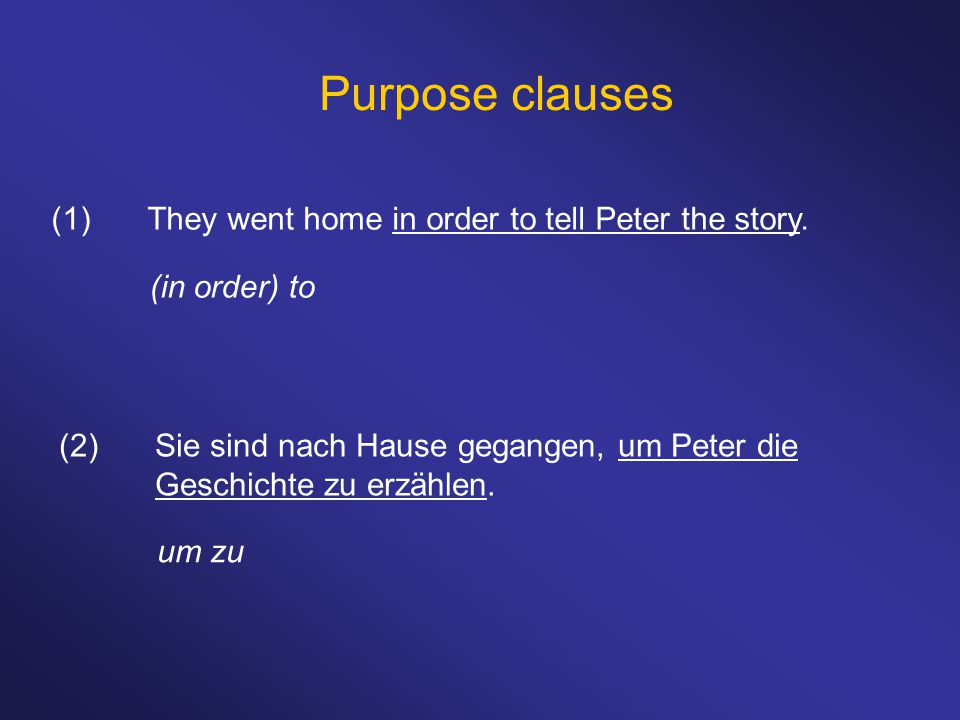 Purpose clauses (1) They went home in order to tell Peter the story.