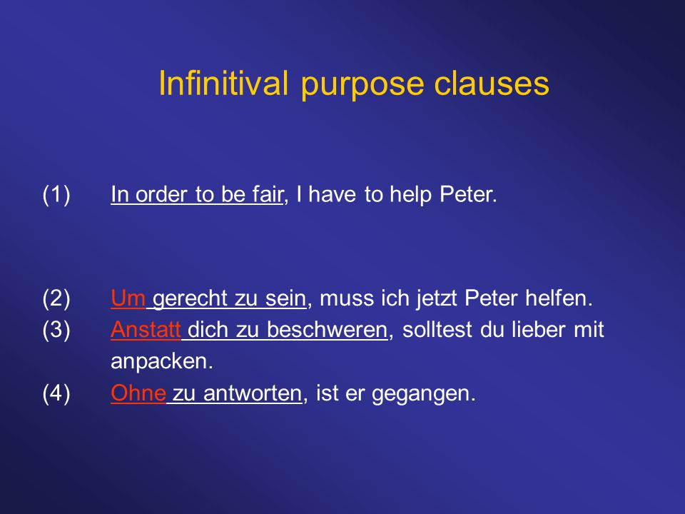 Infinitival purpose clauses