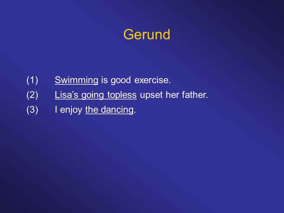 Gerund (1) Swimming is good exercise.