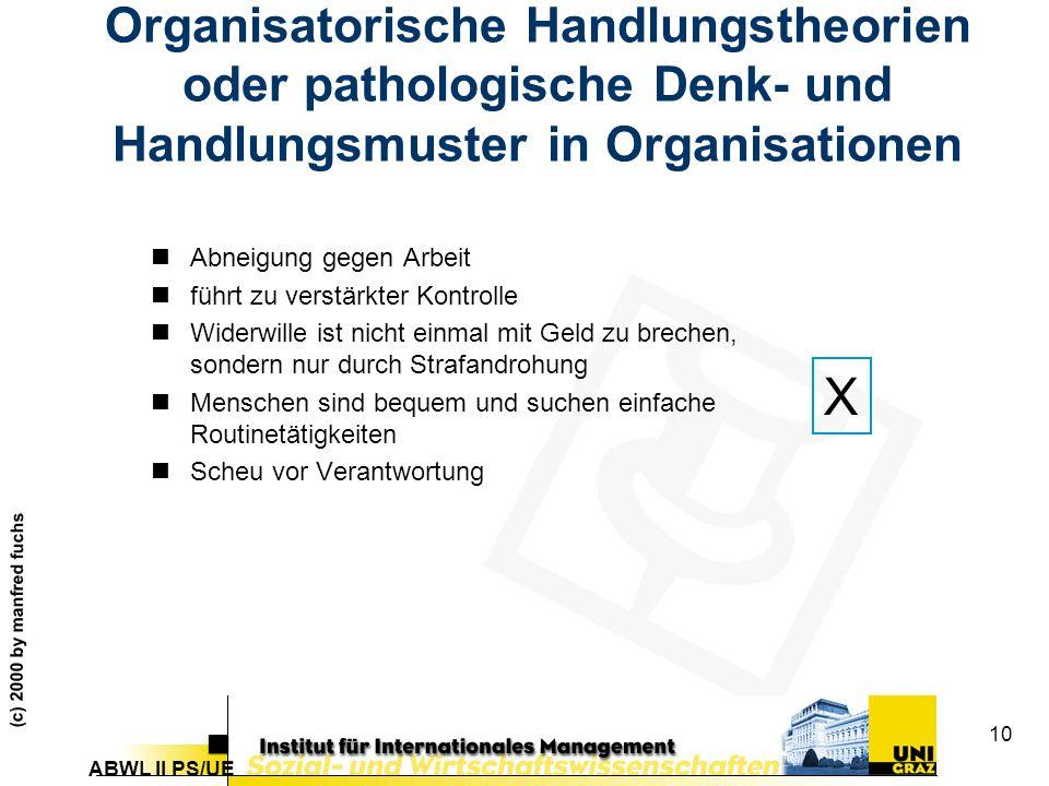 Organisatorische Handlungstheorien oder pathologische Denk- und Handlungsmuster in Organisationen
