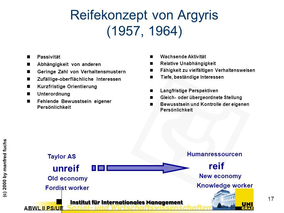 Reifekonzept von Argyris (1957, 1964)