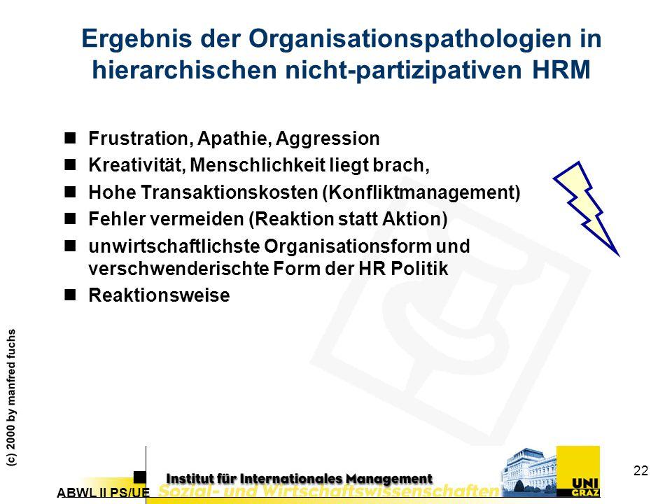 Ergebnis der Organisationspathologien in hierarchischen nicht-partizipativen HRM