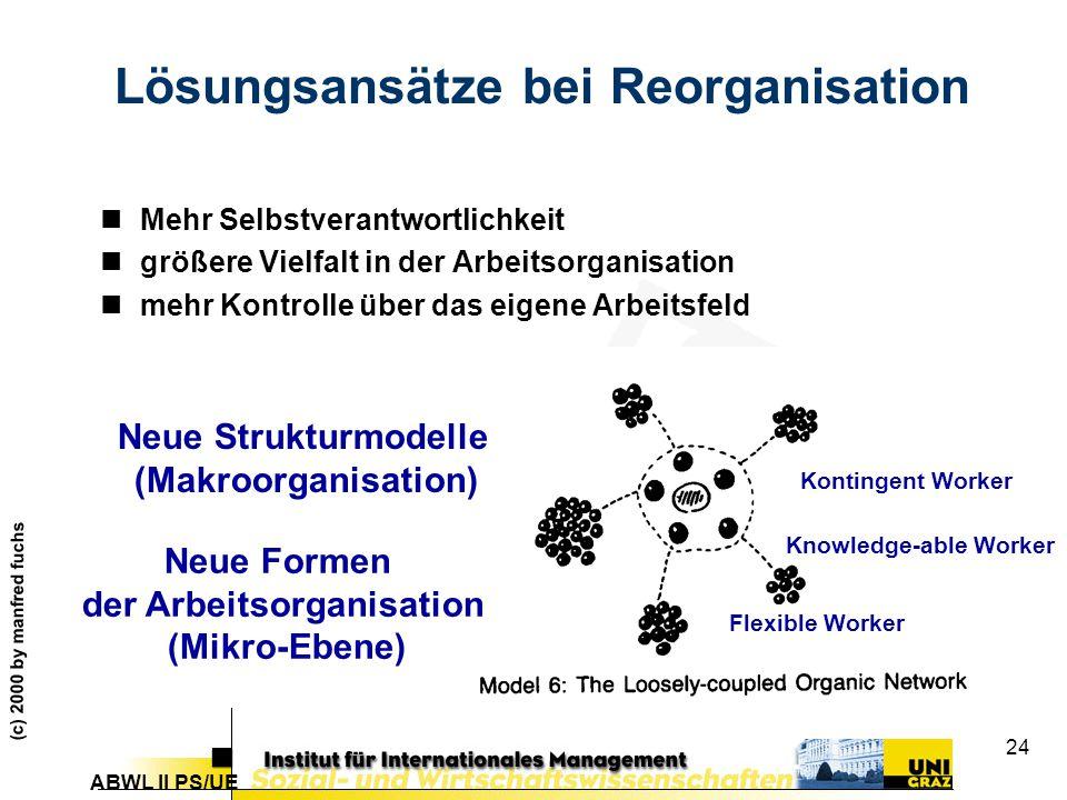 Lösungsansätze bei Reorganisation