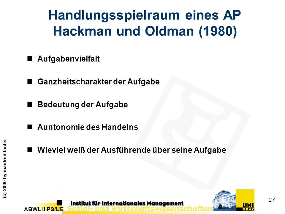 Handlungsspielraum eines AP Hackman und Oldman (1980)