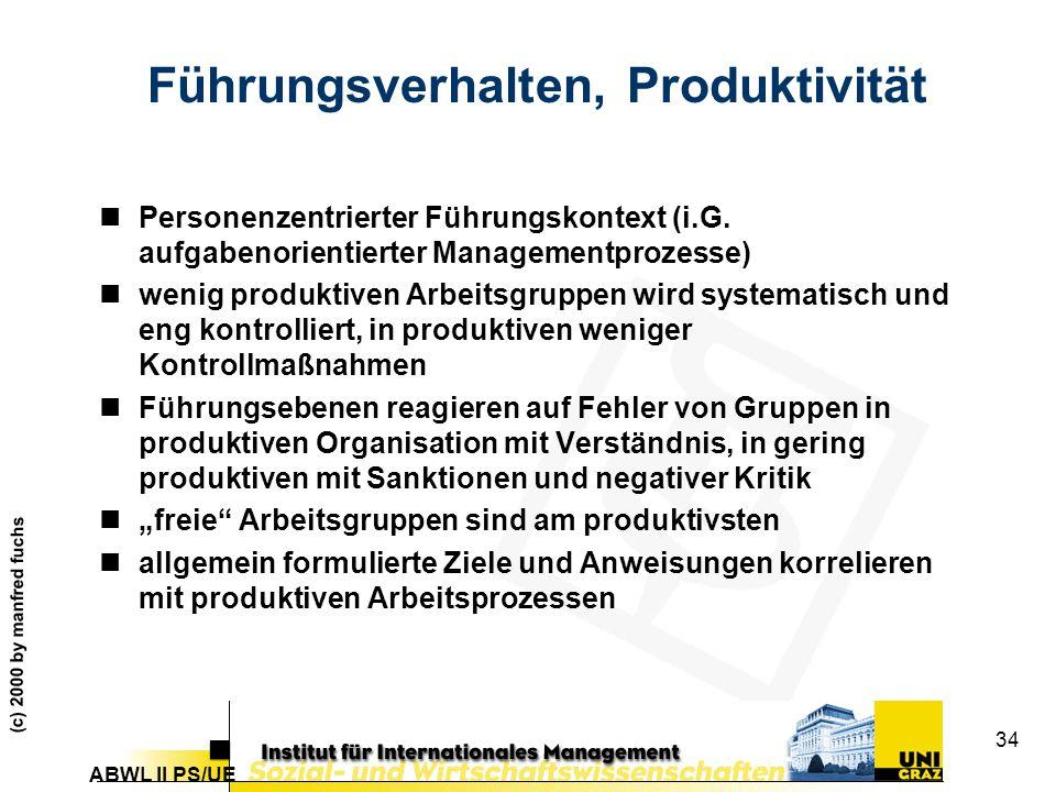 Führungsverhalten, Produktivität