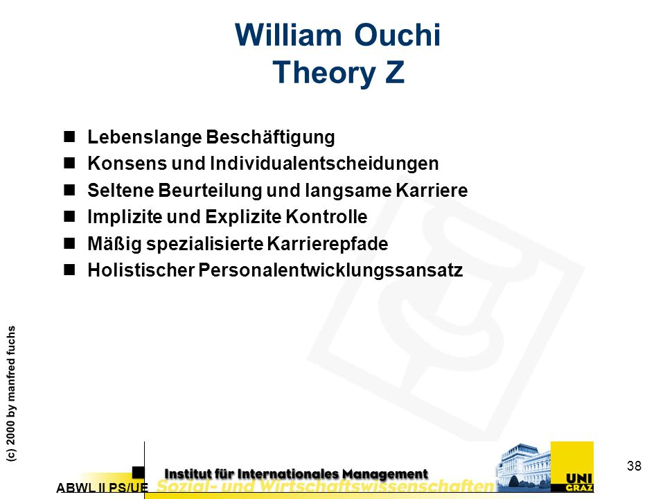 William Ouchi Theory Z Lebenslange Beschäftigung